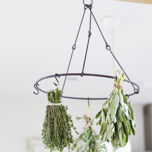 Herb and Flower Dryer An easy and elegant way to dry your herbs and flowers. Simply hang them from this stylish metal hanger in the kitchen, utility room or outhouse. It comes with 6 hooks and can be suspended from any-where. When you've dried your herbs, you can use our herb scissors to snip them up and use our glass teapot to enjoy a homemade herbal brew!