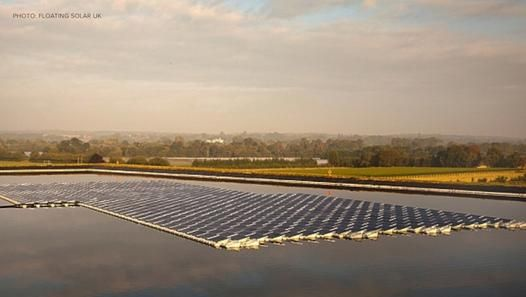 Farm owner Mark Bennett installed Britain's first solar energy source entirely on water. It's housed on floating plastic rafts and offers more than benefits than just a cleaner energy solution.