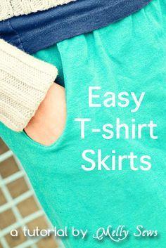 Easy T-shirt Skirt Tutorial - Melly Sews