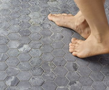 Our new hectagon soapstone mosaic! Great for underfloor heating. Finnish