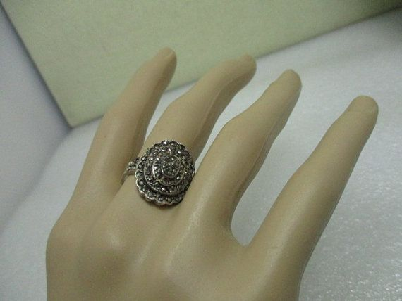 Vintage Sterling Silver Marcasite Oval Tiered by stampshopgirl