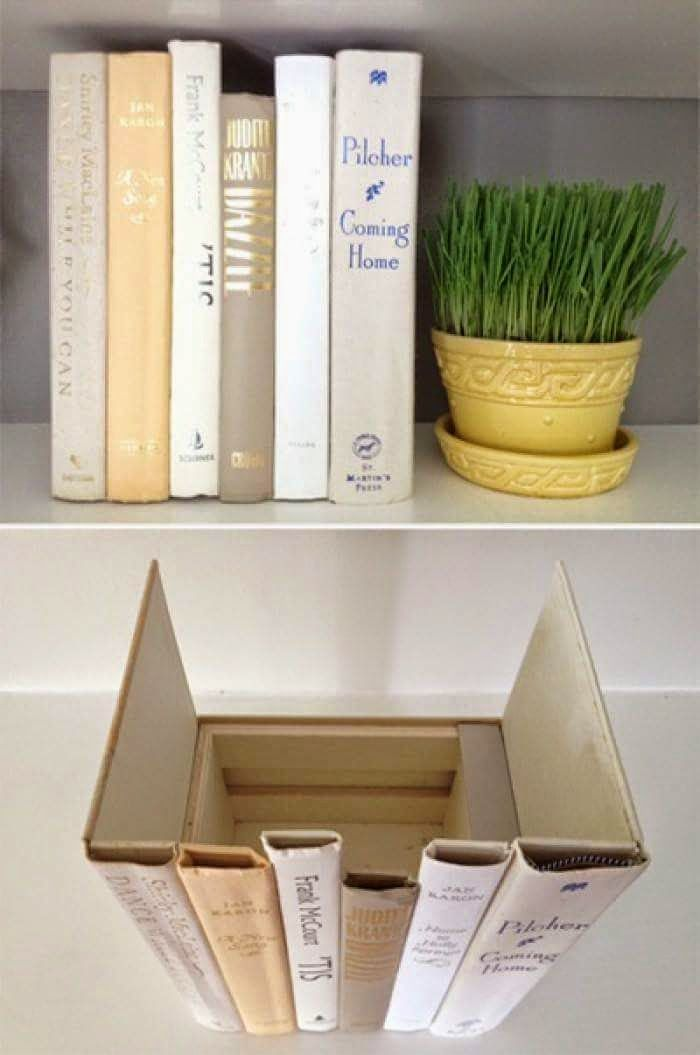 Hide your internet modem (or other shelved eyesores) by creating a bookcase…
