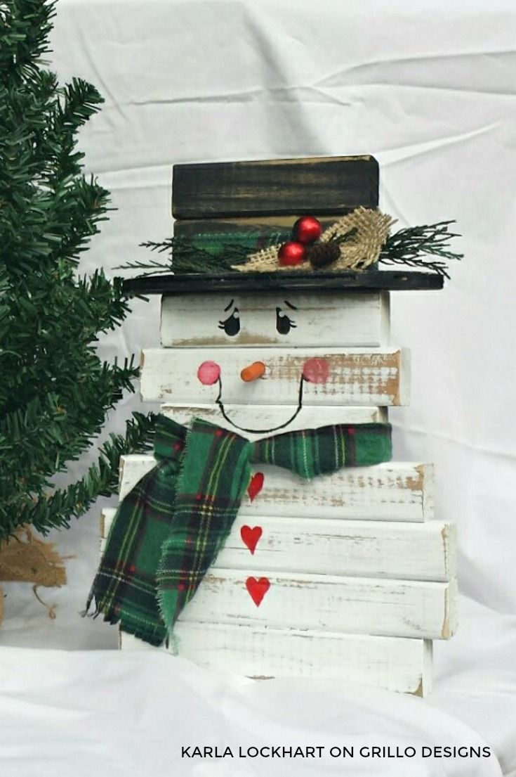 DIY wooden snowman made from spindles
