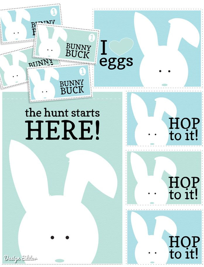 Free Easter Egg Hunt Printables! Everything you need for a fun hunt including Bunny Bucks for your eggs...