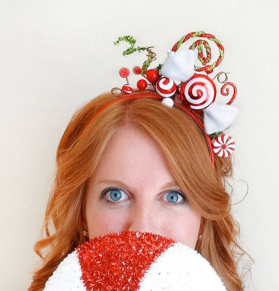 PRE-ORDER Christmas headband adult, red christmas hair bow, candy cane, holiday…