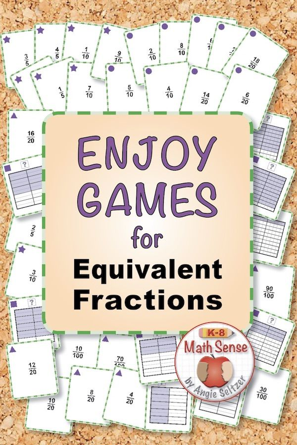 Equivalent Fraction Games Each Square Fraction Model Can Be Matched To Three Equivalent Fractions Get 40 P Fraction Games Fractions Equivalent Fraction Games