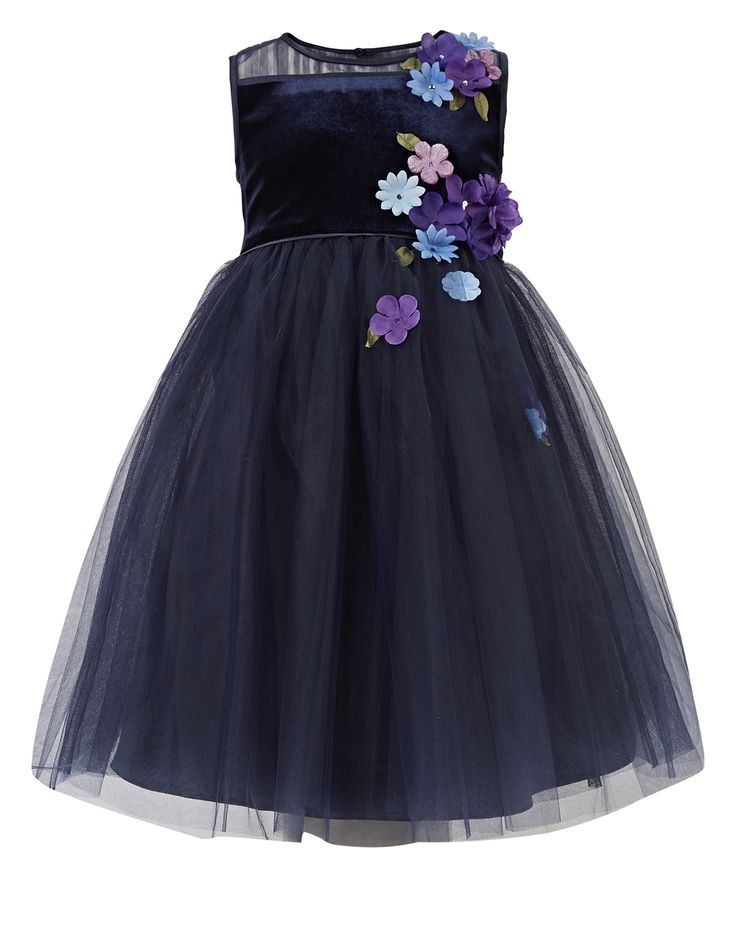 Fallon Velour Dress   Navy   Monsoon