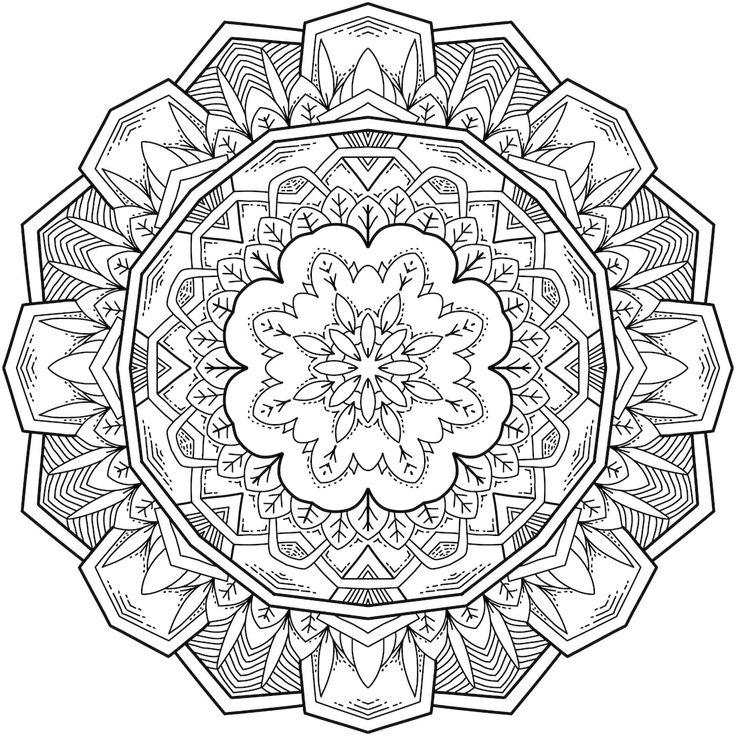 Starlight Bloom Mandala Coloring Page By Hamdi R. - (mondaymandala)