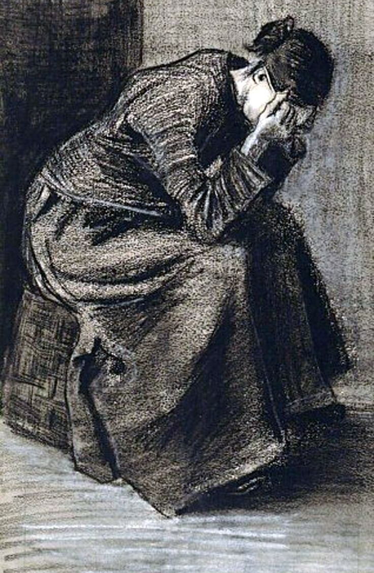 Woman Mourning, 1883  by Vincent van Gogh (30 Mar 1853 – 29 Jul 1890): Dutch http://yama-bato.tumblr.com/post/23985283644/alecshao-van-gogh-woman-mourning-1883-via#notes