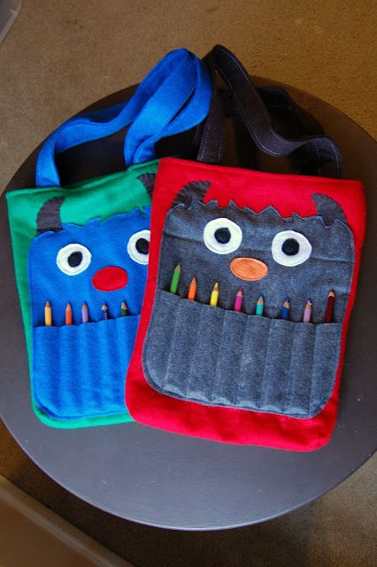 Monster coloring totes (holds a coloring book and colored pencils). So adorable!