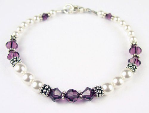 $65.0 Amethyst Birthstone Swarovski Crystal Beaded Bracelets - LARGE 8 1/4 In.From Gemstone Gifts Handmade Jewelry $65.0