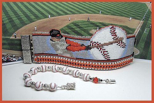Baseball League Bead Loom Cuff Pattern by beadsbeadingbeaded
