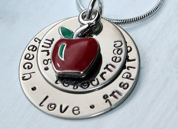 Love this.....Hand Stamped Teacher Pendant with red apple charm by galwaydesigns, $28.00