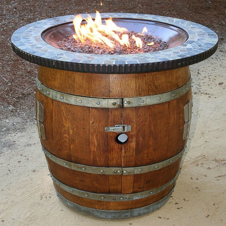 oak wine barrels. awesome reclaimed oak wood brown varnished wine barrel firepit on top with mosaic tiles ornament also barrels