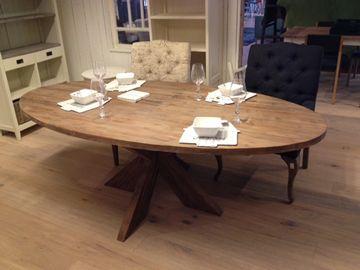 Teak tafel ovaal old grey oud grijs 220x110x75 jpg wonen for Design tafel ovaal