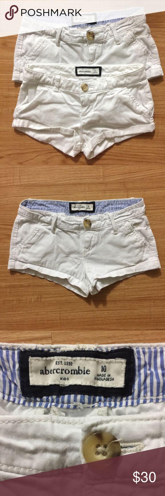2 Girls white Abercrombie kids shorts. Size 10. 2 Girls white Abercrombie kids shorts. Size 10. abercrombie kids Bottoms Shorts