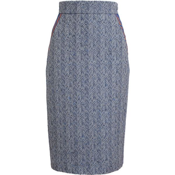 ROKSANDA Herringbone Pencil Skirt ($1,035) ❤ liked on Polyvore featuring skirts, high waisted skirts, high-waisted pencil skirts, high waisted pencil skirt, blue pencil skirt and roksanda skirt