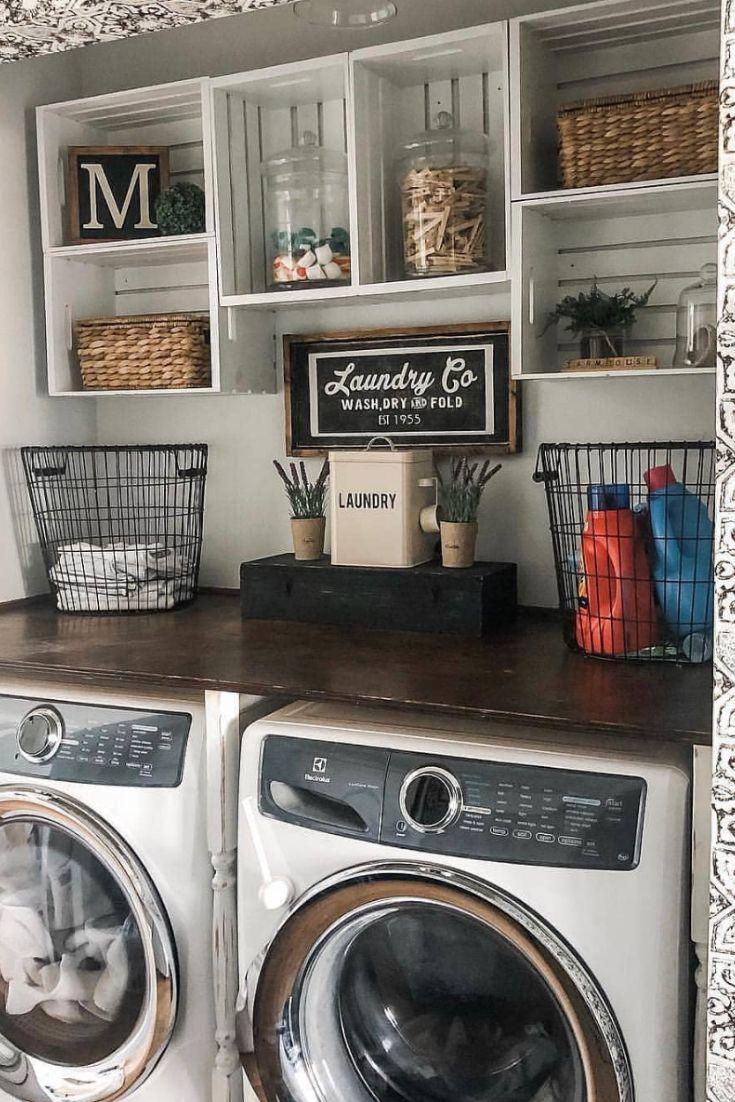Smart Farmhouse Laundry Room Storage Organization Ideas