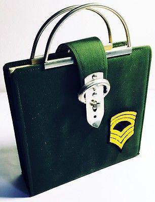Borsa Valigetta Vintage PORTA DISCHI VINILE 45 GIRI ANNI '70 Stoffa Verde | eBay