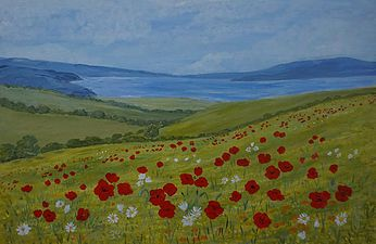 Beautiful distant seascape, soft green fields, bright poppies and daisies.Canvas art painted edges.by janet davies