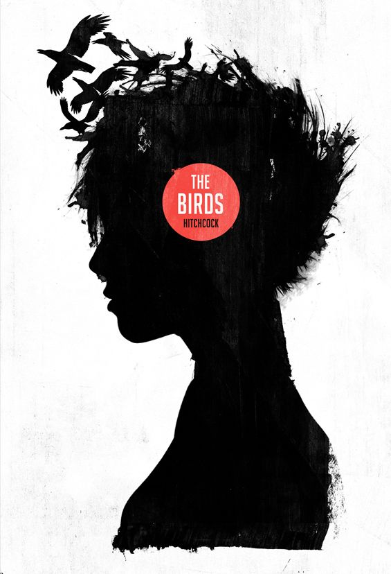 """Alfred Hitchcock's The Birds (1963) poster re-envisioned by Graphic artist Laz Marquez."""