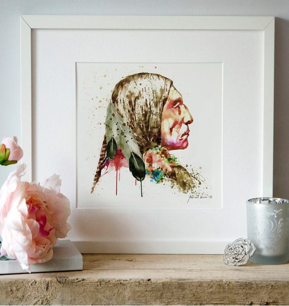 Native American Side face Watercolor painting Wall by Artsyndrome