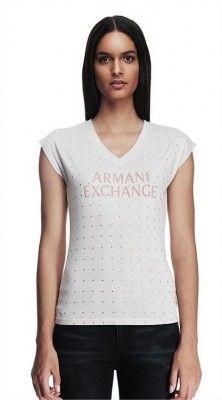 Camiseta Armani Exchange Women's Tonal Studded Logo Tee Carnation D5X162 #Camiseta #Armani Exchange