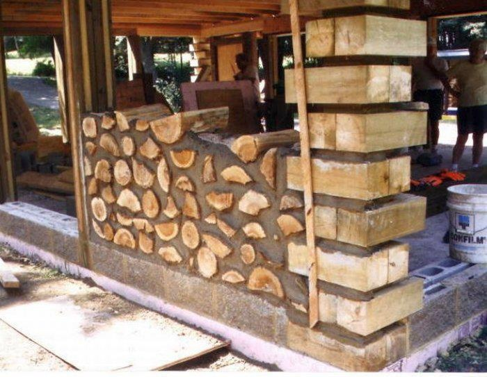 Cordwood home in the process