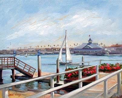 Painting of where I used to live - Balboa Island, CA. Want! Doreen Abegg Art/Harbor