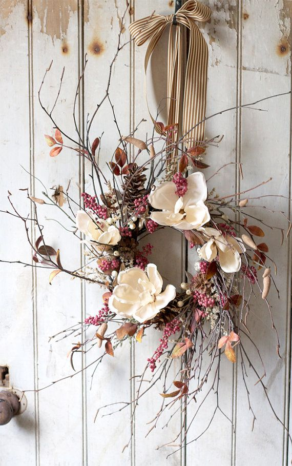 Holiday Magnolia Wreath Elegant Holidays by TheLinnetsWing #ThanksGiving #Home #Decor ༺༺ ❤ ℭƘ ༻༻