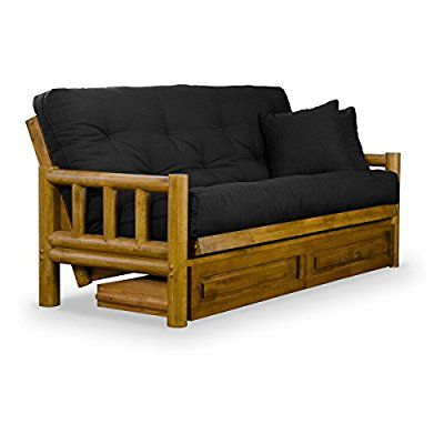 Rustic Tahoe Log Futon Frame, Drawers, and Futon Mattress Set - Rich Heritage Finish