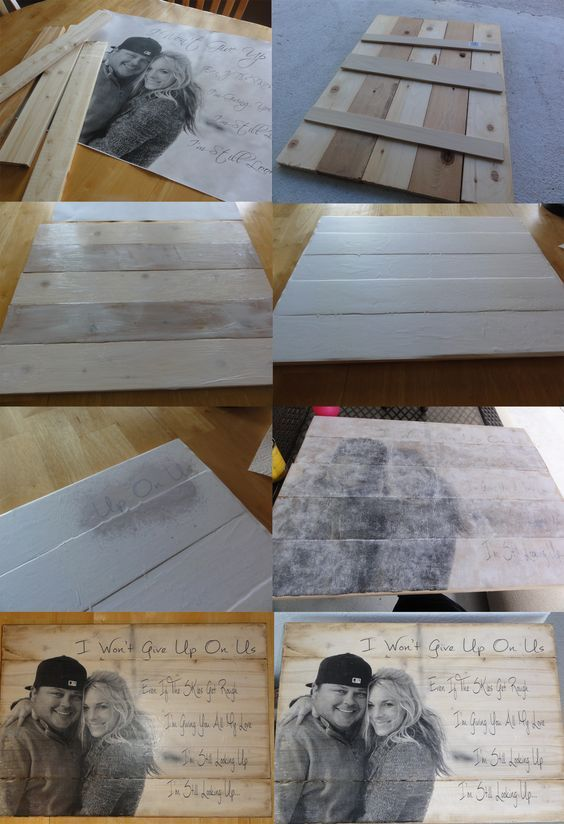 Photo Transfered to Wood With Wedding Song Lyrics.