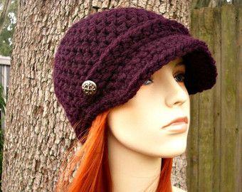 Mujeres sombrero púrpura vendedor de periódicos sombrero - Jockey gorro Crochet morado berenjena - sombrero morado púrpura para mujer accesorios invierno gorro