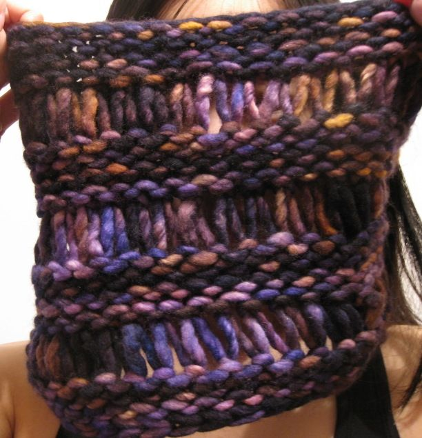 Knitted Drop Stitch Cowl Pattern : Drop stitch cowl in Malabrigo Rasta yarn. (http://www.ravelry.com/patterns/li...