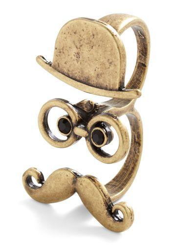 Sir Thing Ring -- I want one!: Fashion, Moustache, Like A Sir, Sir Things, Vintage Rings, Things Rings, Mod Retro, Retro Vintage, Modcloth Com
