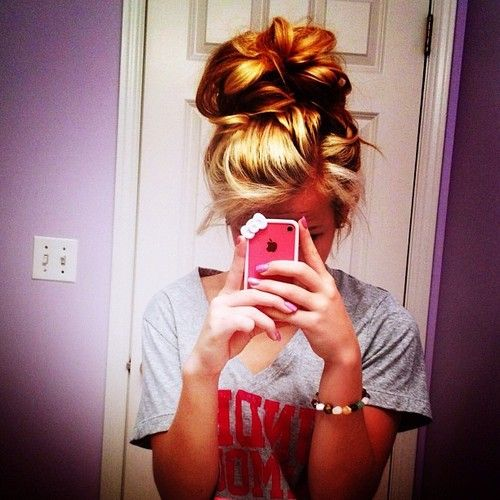 Cute messy bun for everyday...my hair is to long to retain volume though