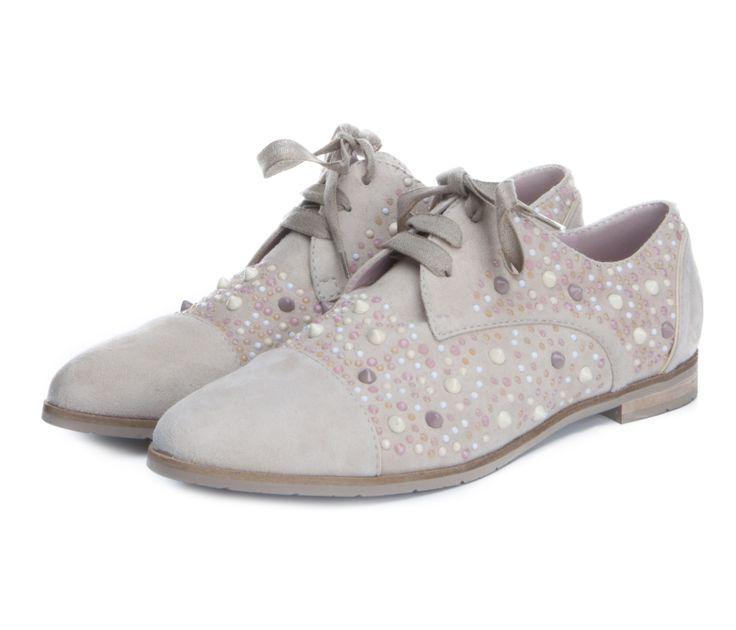 Женские замшевые туфли на шнурках My Grey с шипами и стразами 2 400 грн