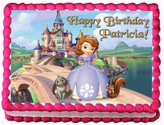 Sofia the First Edible image cake and cupcake toppers