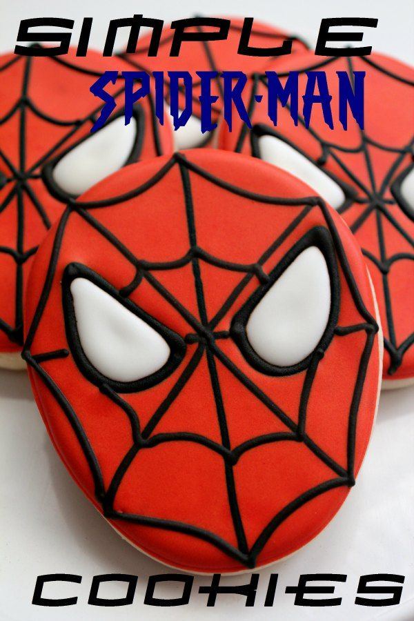 Easy Spiderman Cookies for your super hero baby shower in about 5 years?