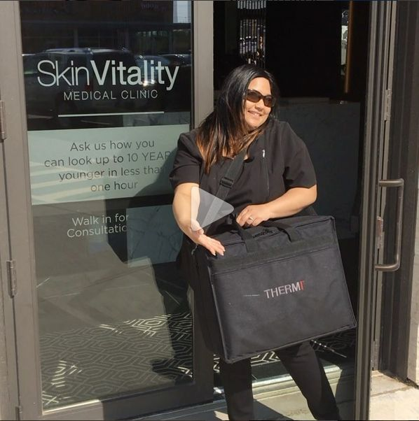 Our registered nurse Nicole leaving skin vitality Oakville after a busy day of Thermiva treatments!