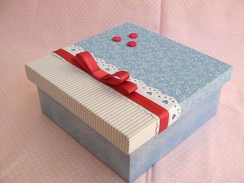 Caixa média azul/ rosa antigo