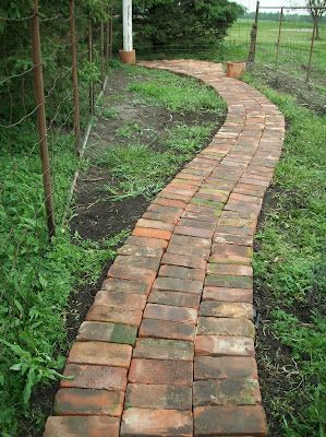 brick path with reclaimed bricks. Come on people! Lets reuse building materials in creative ways like this: