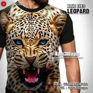 Kaos MACAN TUTUL, Kaos HARIMAU, Kaos MACAN, Kaos LEOPARD, Kaos3D, Blue Eyes Leopard, Kepala Macan, Tiger, https://instagram.com/kaos3dbagus, WA : 08222 128 3456, LINE : Kaos3DBagus
