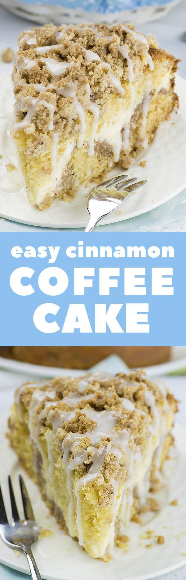 Easy Cinnamon Coffee Cake is simple and quick recipe for delicious, homemade coffee cake from scratch. Dessert or breakfast idea - it's your choice!