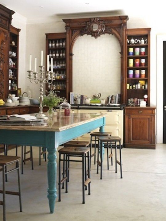 A Healthy Dose of Drama: Kitchens that Use Antique Furniture in Lieu of Wall-Hung Cabinets   – kitchen and dining