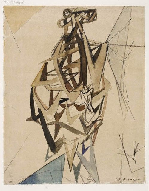 """Tadeusz Kantor """"Composition"""", 1948, watercolour, ink, 30.8 x 24.4 cm, National Museum, Warsaw"""