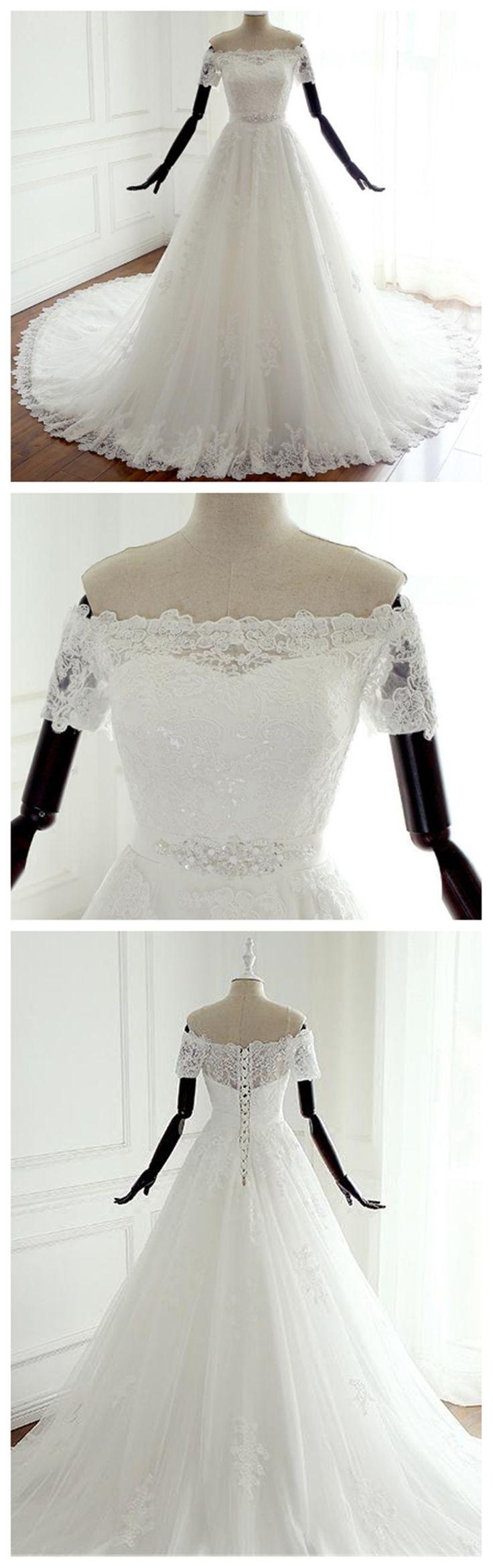 Off Shoulder Short Sleeve Lace Beaded A line Wedding Bridal Dresses, Custom Made Wedding Dresses, Affordable Wedding Bridal Gowns, WD256
