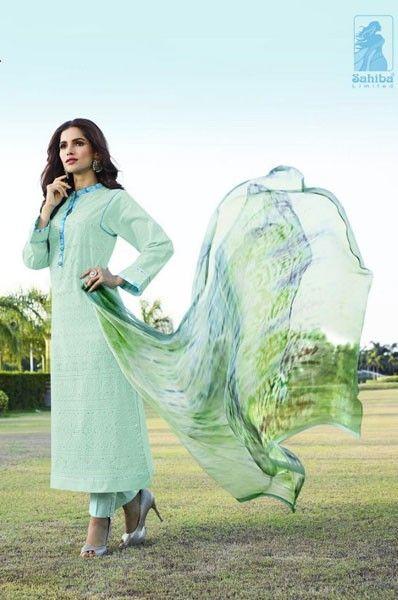 Party Wear Blue Cotton Mirror Work Salwar Suit