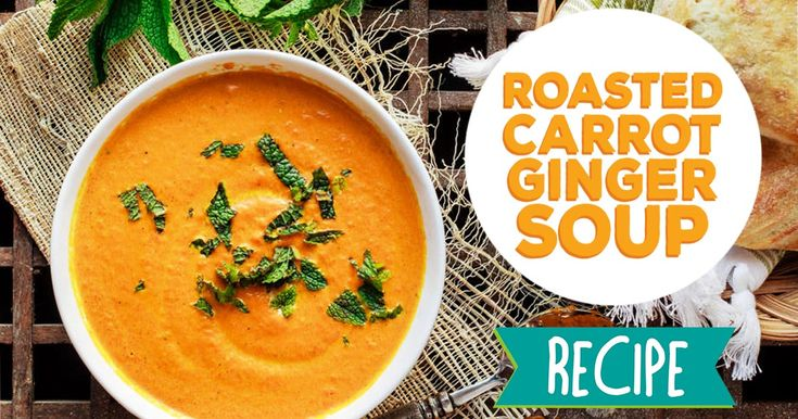 Creamy roasted carrot ginger soup with Mediterranean spices and fresh mint! I love making this for an easy and warm dinner during the week! Leftovers are great too. #recipe #food