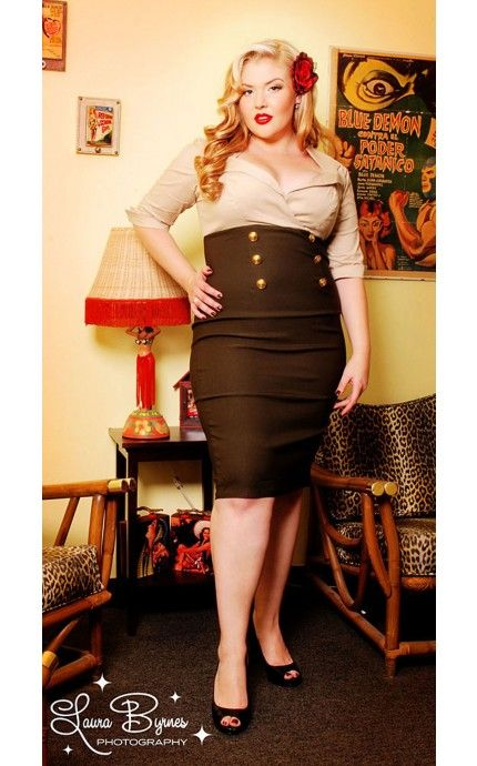 Military Secretary Dress in Tan and Green - Plus Size - Plus Size - Clothing   Pinup Girl Clothing